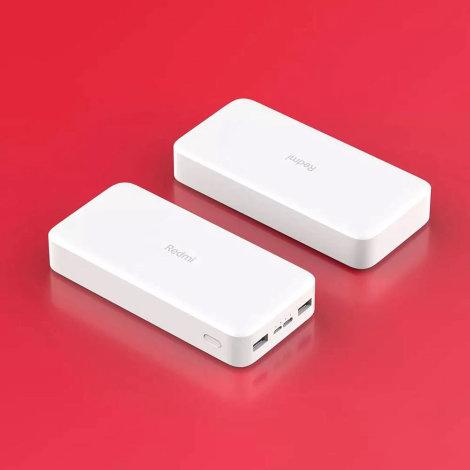 Xiaomi Redmi Power bank 20000 mAh na crvenoj podlozi